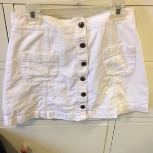 White button up jean skirt